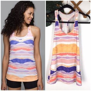 Lululemon Cool Racerback Beach Stripe White Iris